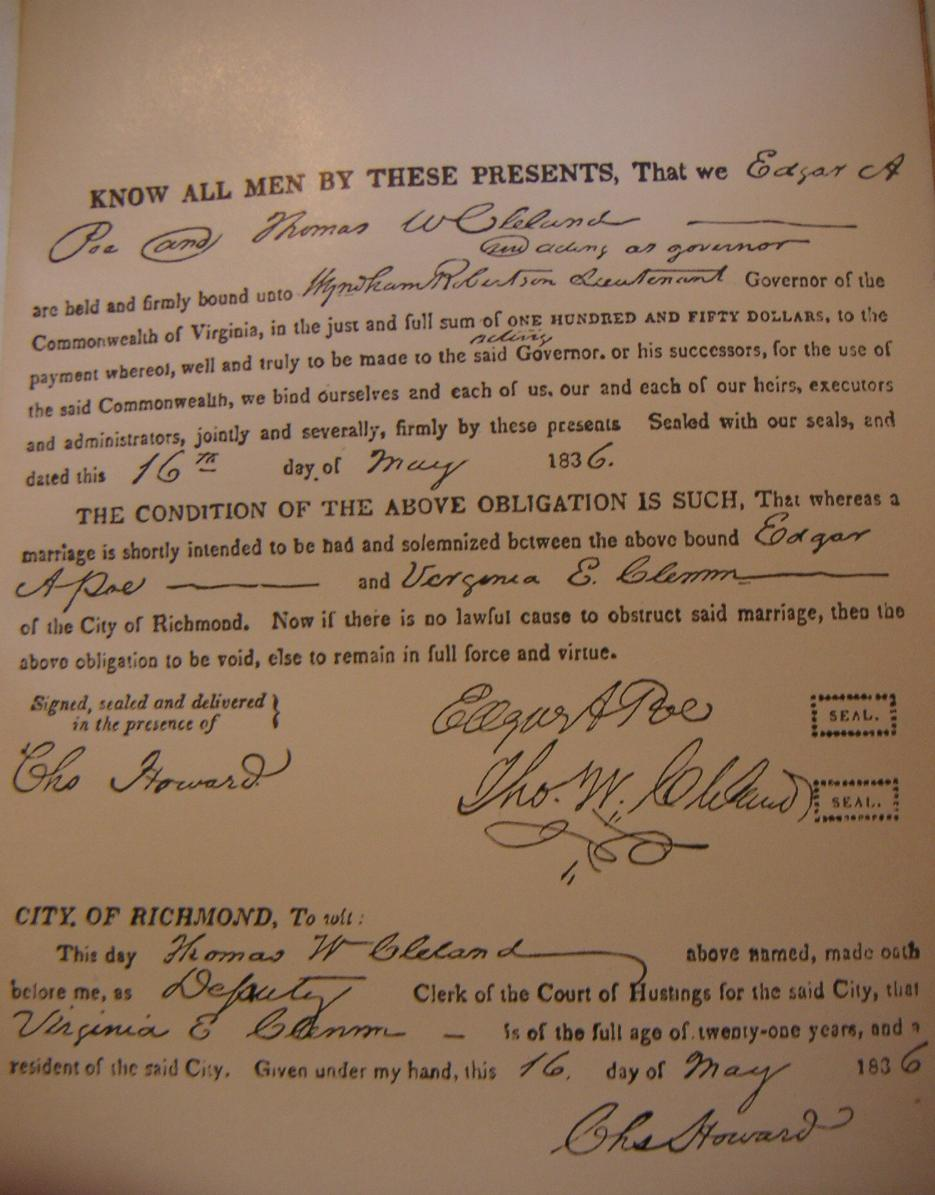 Poe and Clemm's marriage certificate (via    Wikipedia   )