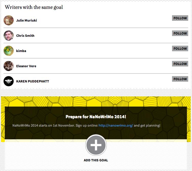 Write-Track goal page for NanoWriMo 2014 (via    Write-Track   )