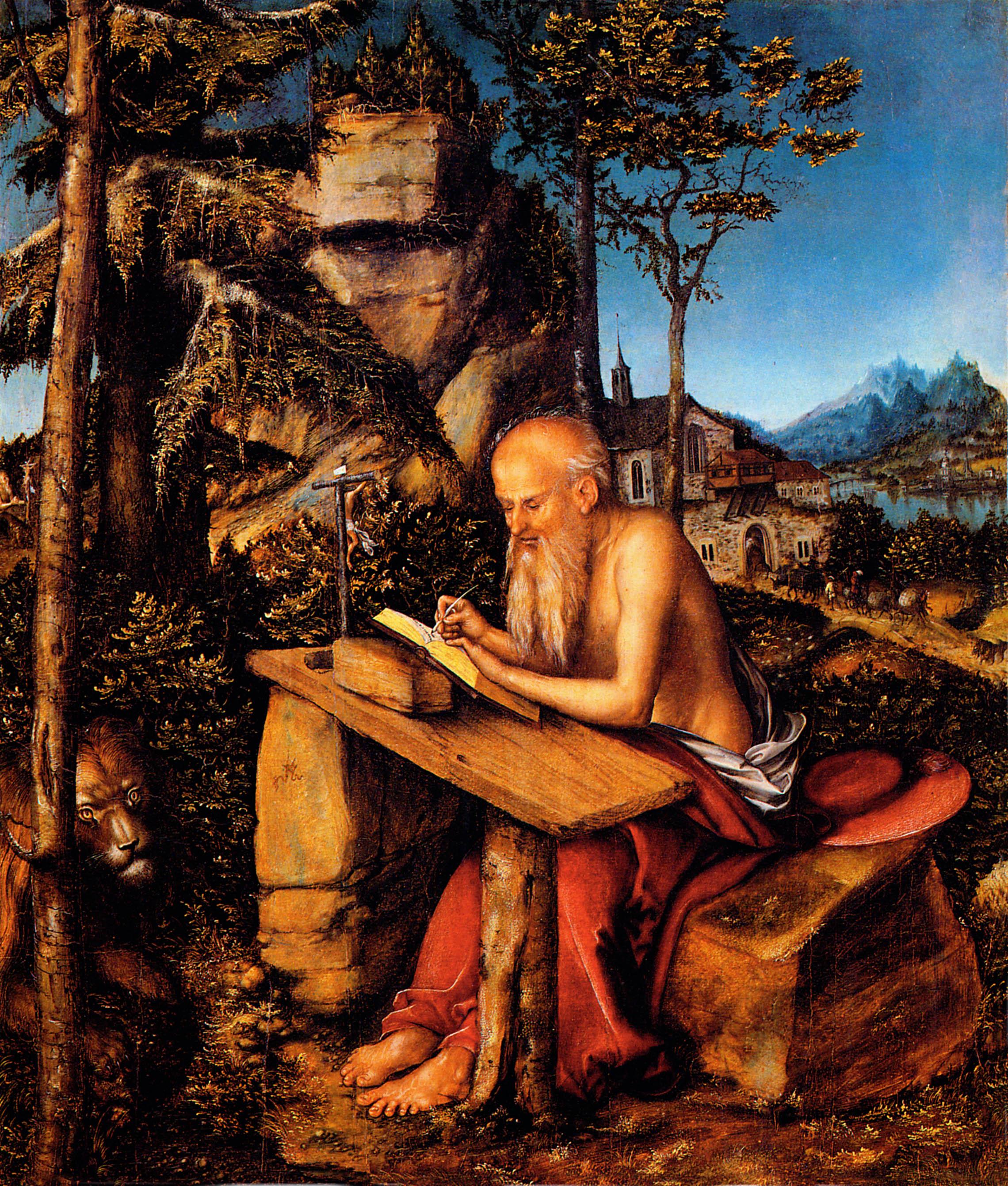 "Lucas Cranach the Elder's ""Saint Jerome,"" the patron saint of translators (via    WikiArt   )"