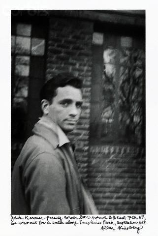 Kerouac outside Vazac's Horseshoe Bar by Ginzberg, 1953 (via    EV Grieve   )
