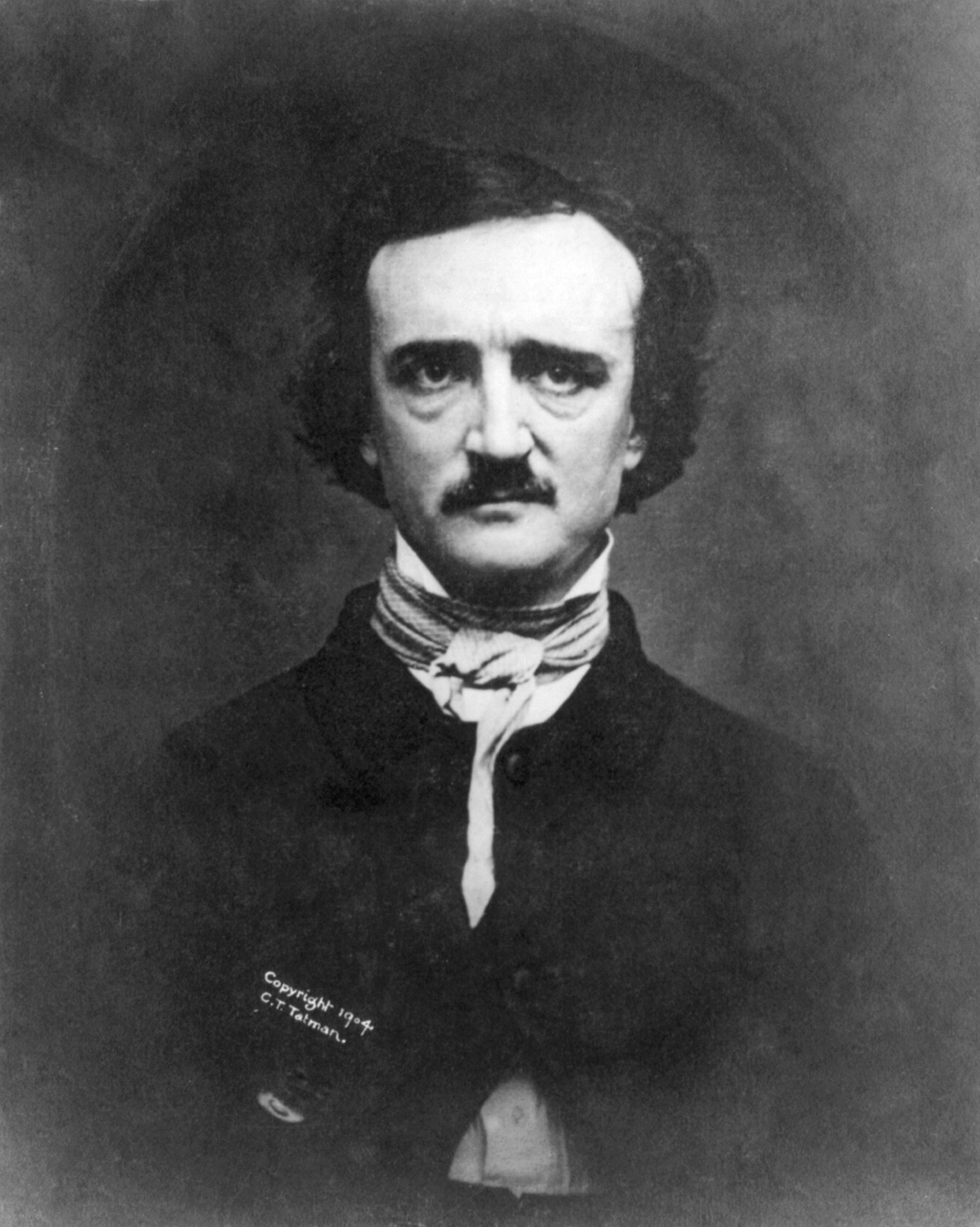 Photograph of Edgar Allan Poe taken less than a year before his death (via    Wikimedia Commons   )