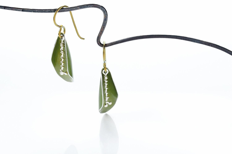 Pomegranate Bud Earrings Anodized Aluminum and Niobium
