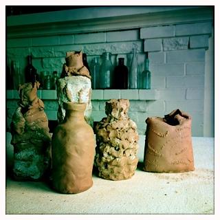 hand-built ceramic bottles