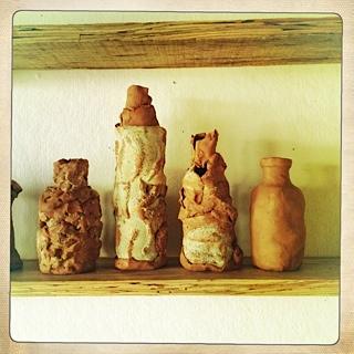 hand built clay bottles