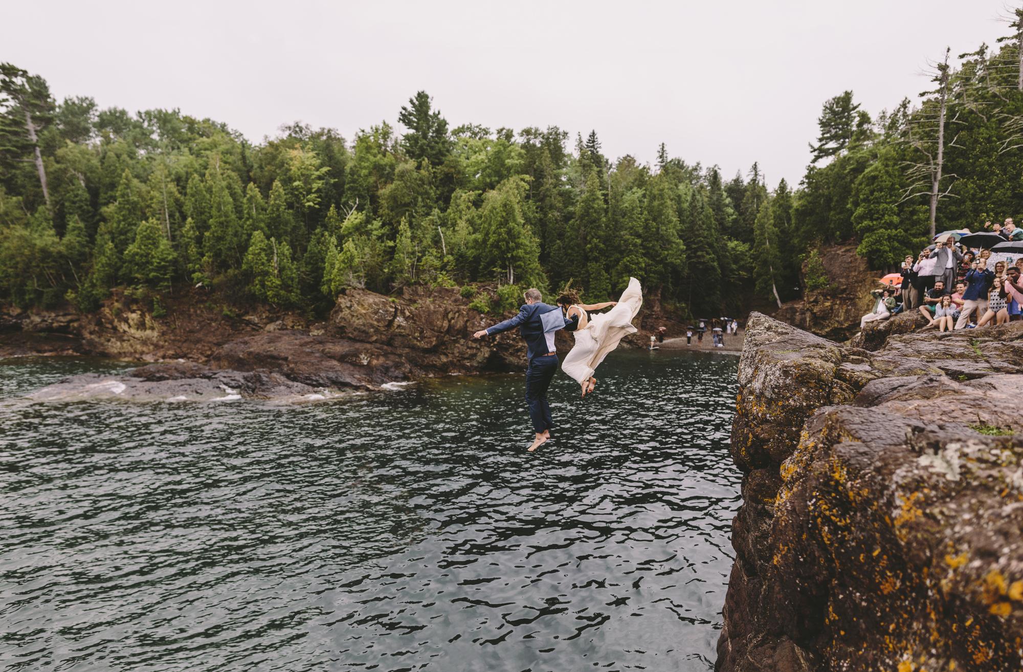 marquette michigan wedding photographer cliff jump black rocks presque isle