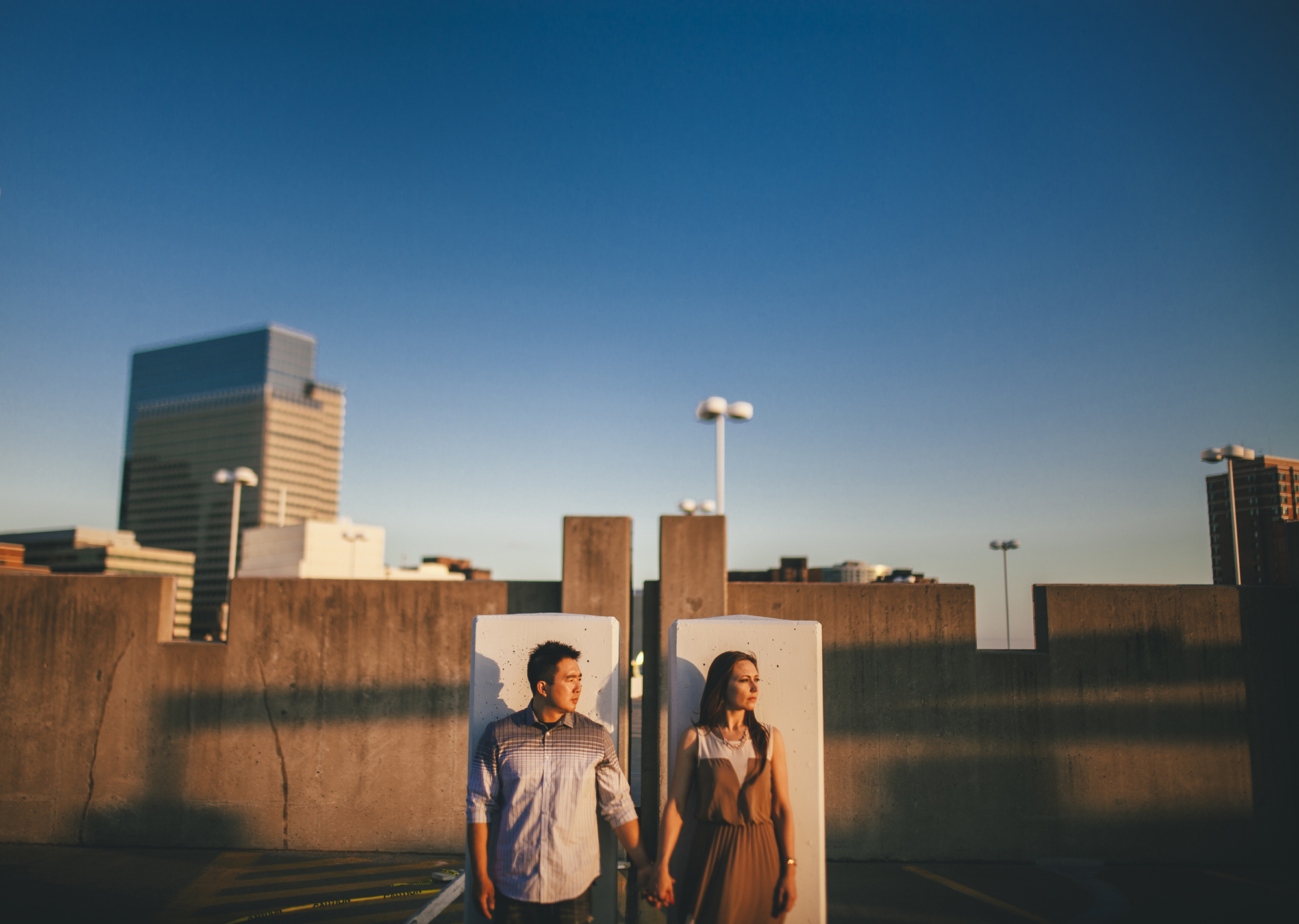 Brandon werth minnesota wedding photographer rooftop engagement session