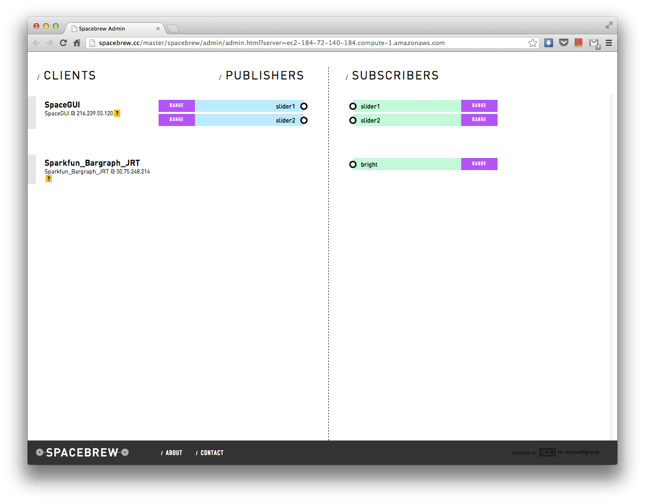 SparkFun Bar Graph and Javascript GUI clients in Spacebrew.