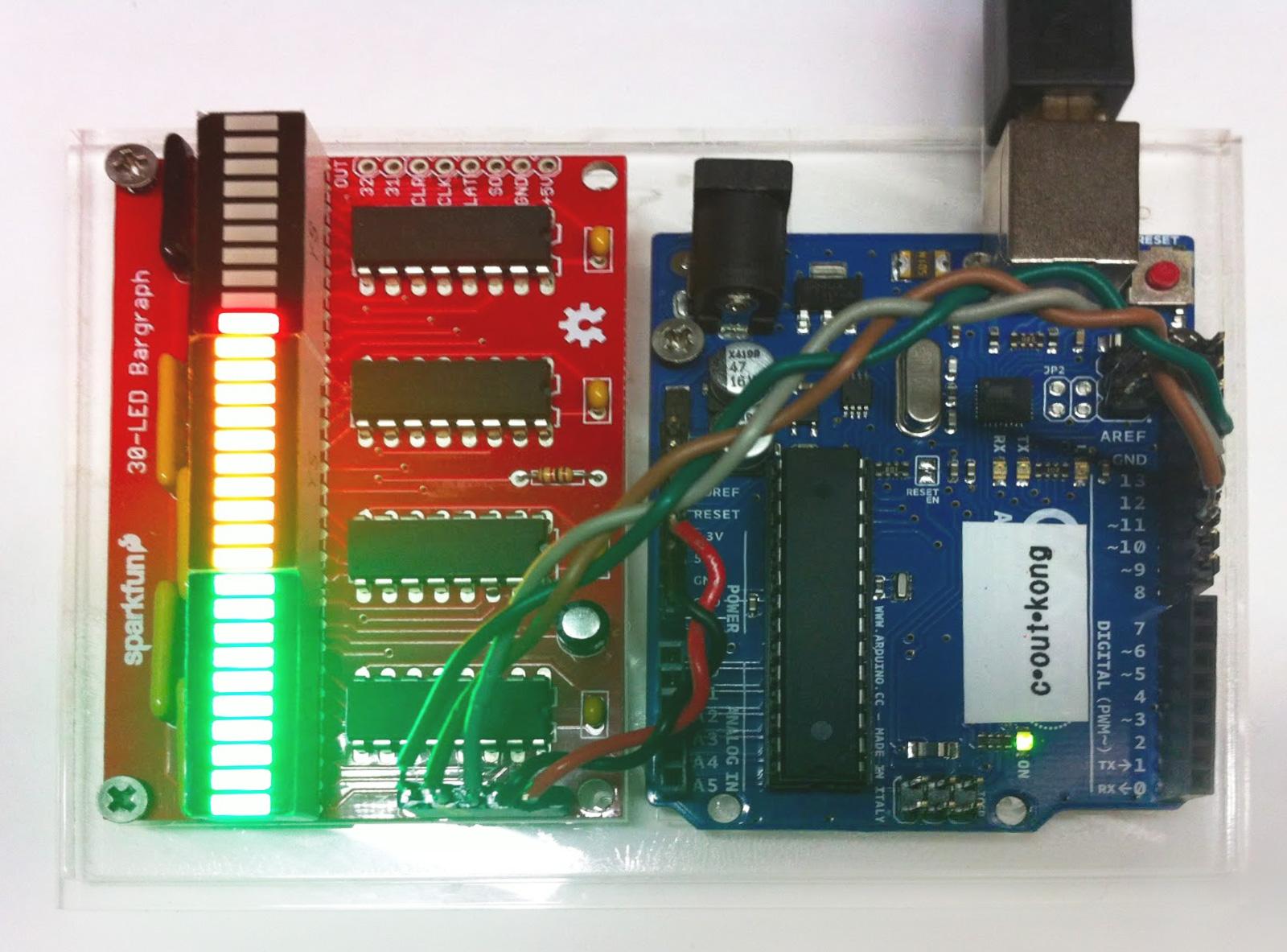 LED Bar Graph responding to javascript slider input via Spacebrew.