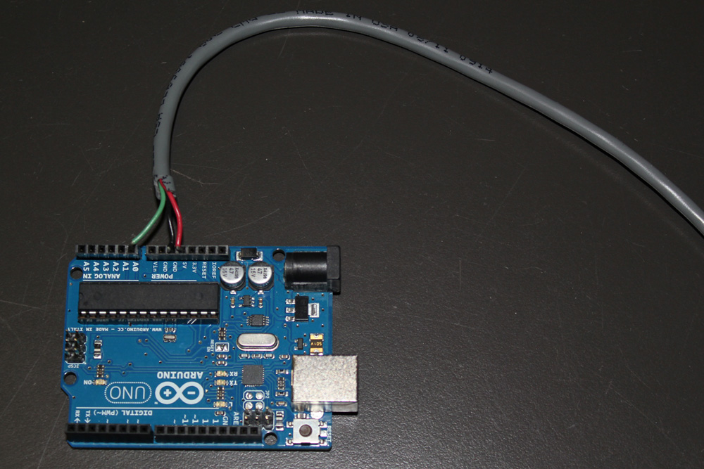 Connect the wires from the PowerSwitch Tail to the pins on the Arduino board.