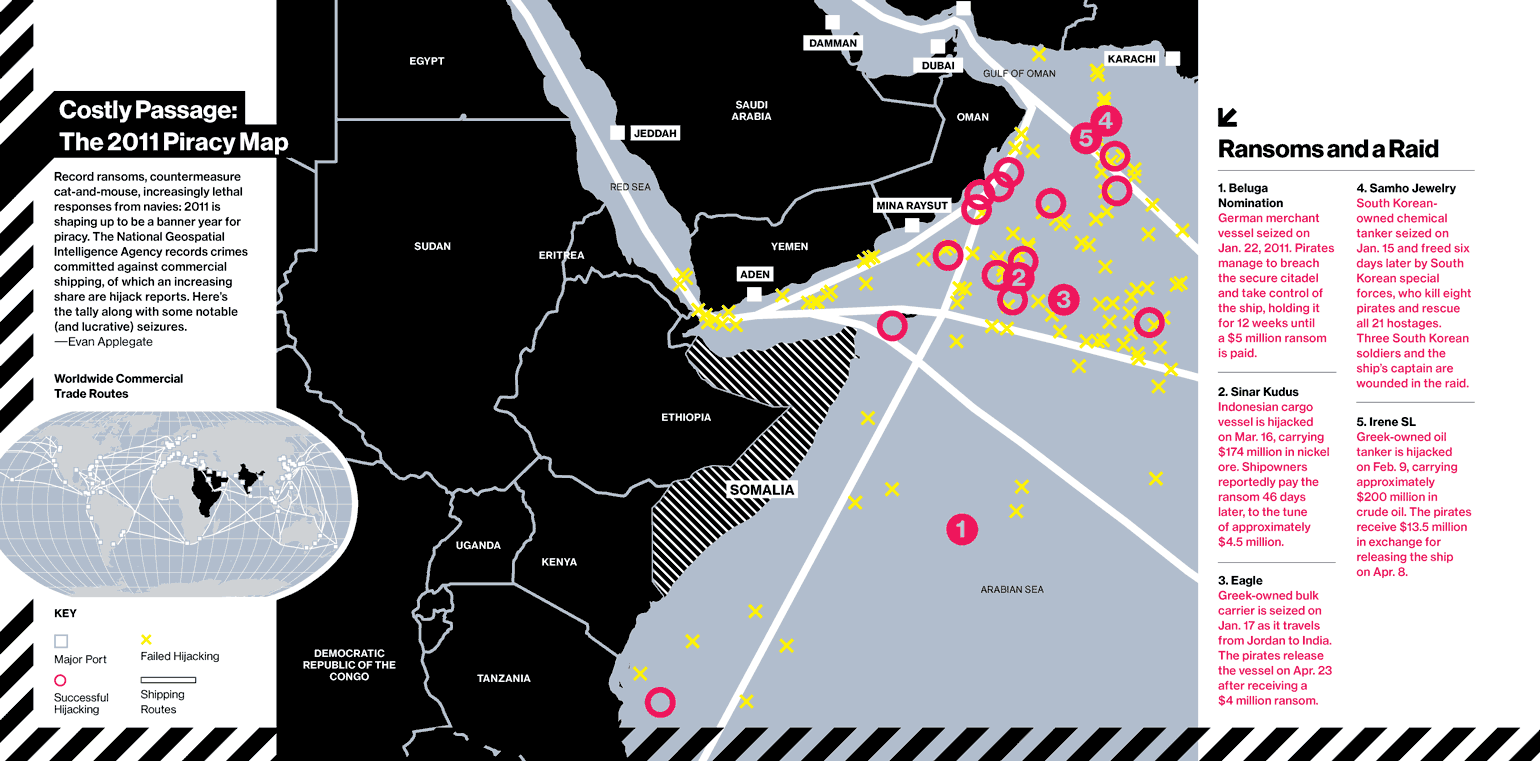 The inimitable Robert Young Pelton did a story on Somali piracy for us (back when that was a thing), so I made a map using a neat  database  provided by the National Geospatial Intelligence Agency.