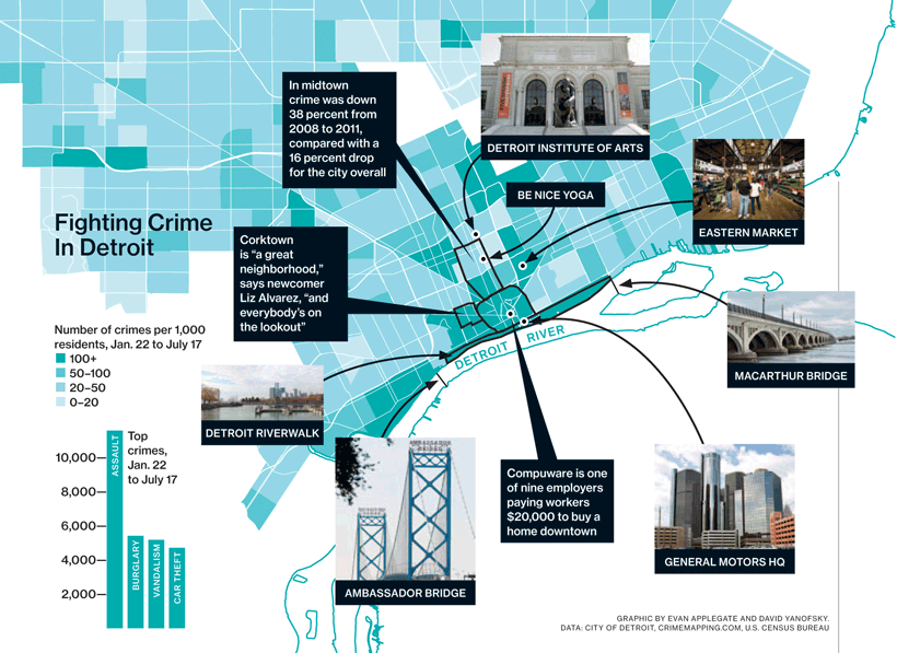 Mapping Detroit's eentsy-weensy crime problem.  Click for a larger version.