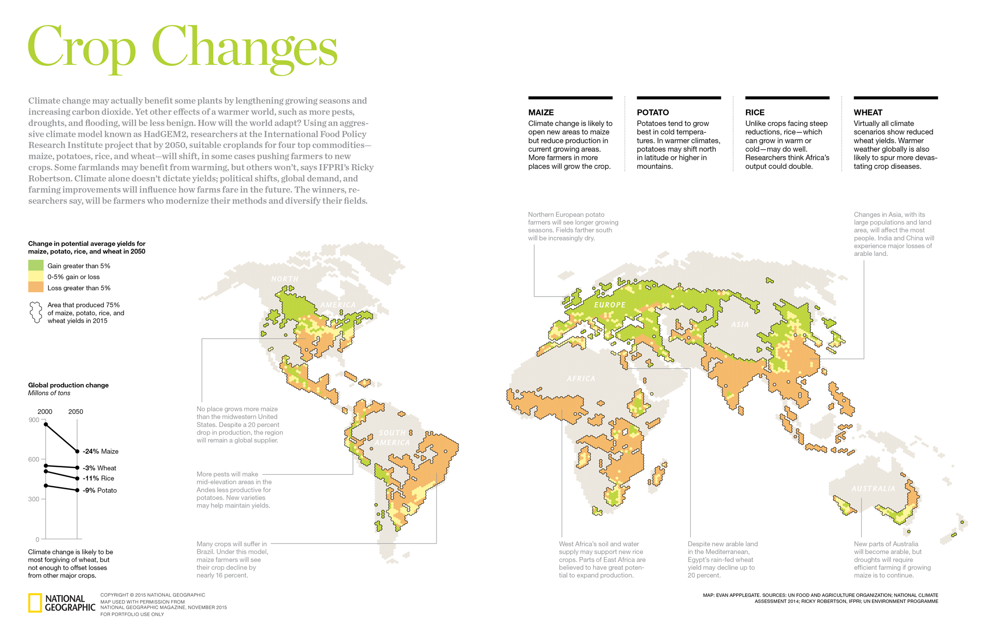 Earth gets most of its calories from wheat, rice, corn and potatoes. Climate change will hurt production of all of these, and I don't think we can monoculture our way out of this one. With words by Daniel Stone and data wrasslin' by Ricky Robertson of IFPRI.
