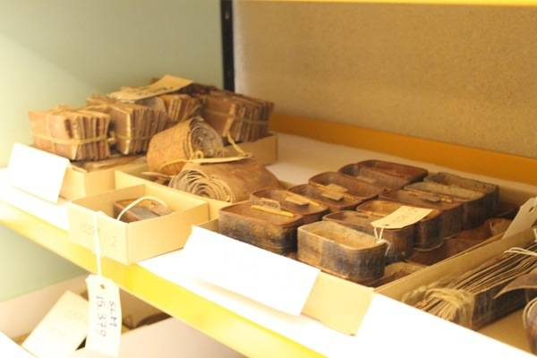a collection from an old production birch bark box shop