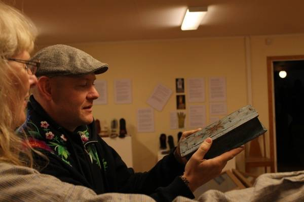 My friend Mattias digging the wooden bible box
