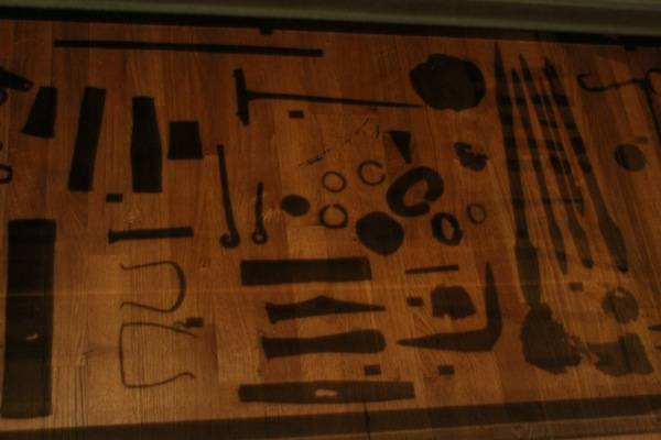 contents of the  Mästermyr chest  ,  one of the most important finds of all time in relation to woodworking during the viking era. This was at the  Historiska Museet.