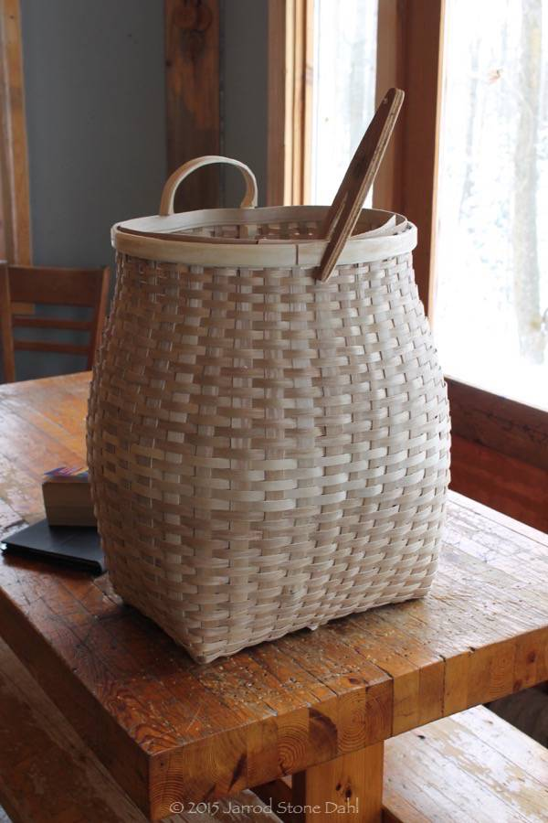 One of April's hand pounded black ash, pack baskets ready to final rim lashing. Almost ready to send to it's new owner.