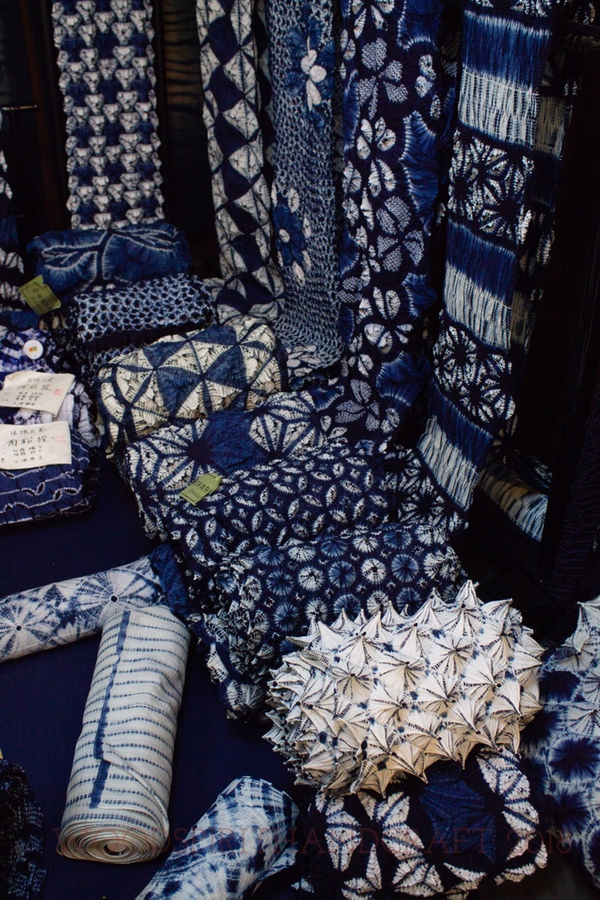 High end cotton yukata shibori. A 21 yard roll cost over $1000 because it was dyed with living vat indigo and tied by hand. Imagine the handwork labor and skill involved.