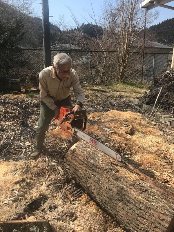 Tomio shredding up the the hunoki log.