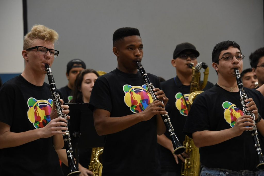 Photo: Members of the Ramona Dynasty band of Ramona High School in Riverside, CA, perform during Give A Note's 2017 Music In Our Schools Tour.