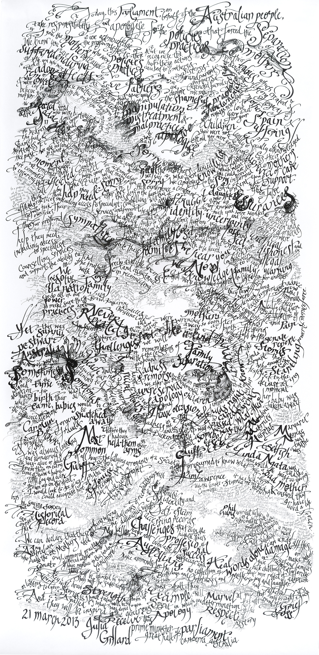 National Apology for Forced Adoptions, 2013 (66 x 34 in)