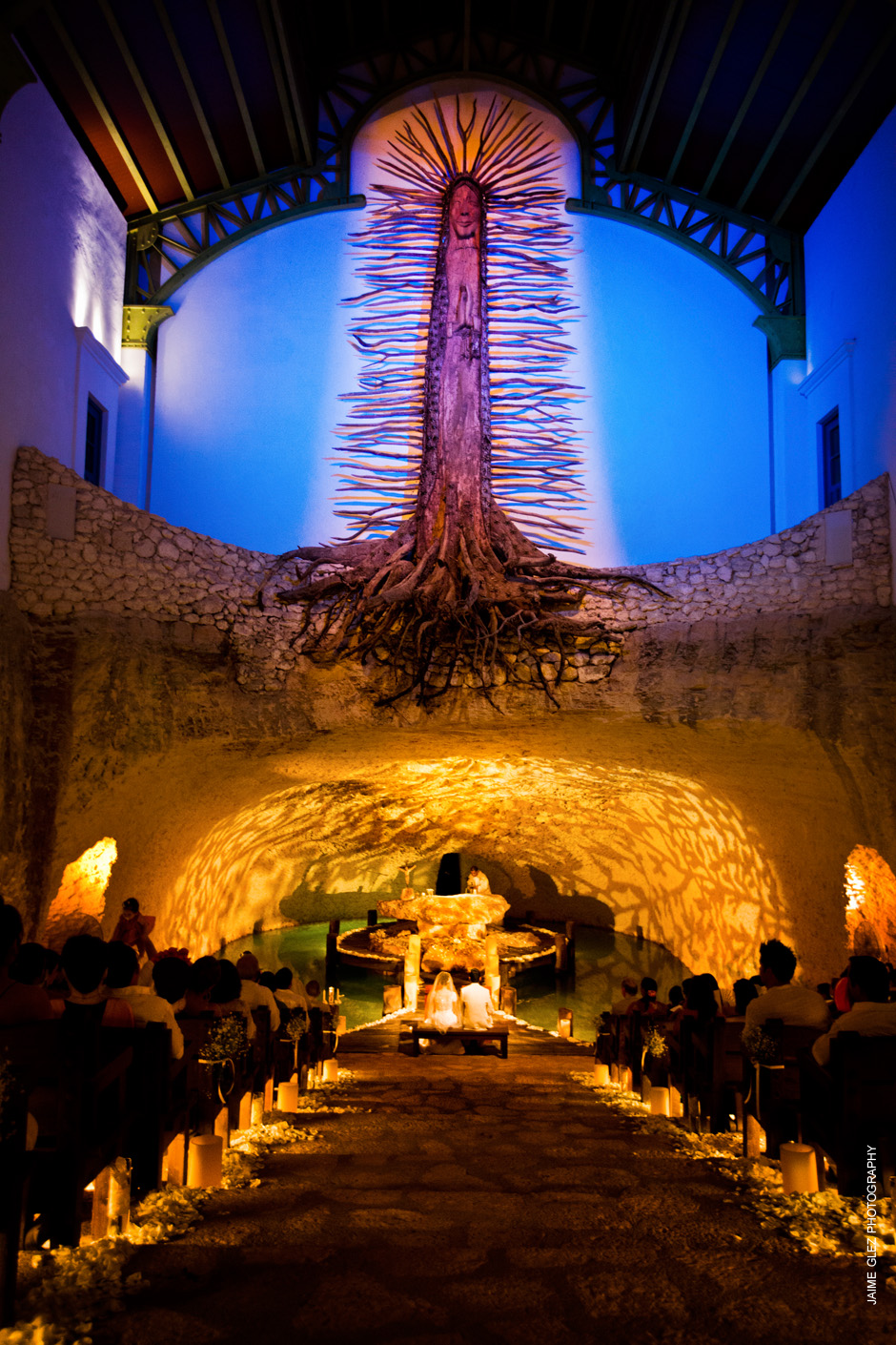 Amazing front view of our Lady of Guadalupe Chapel in Xcaret, Mayan Riviera, Mexico.