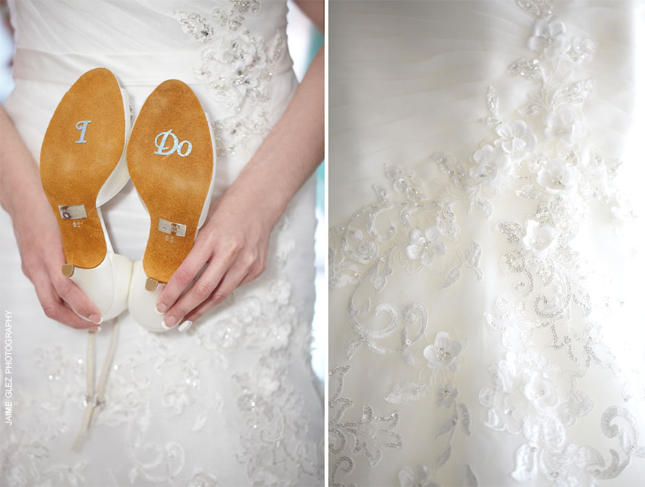 Such a pretty phrase on her wedding shoes... something blue saying I DO!