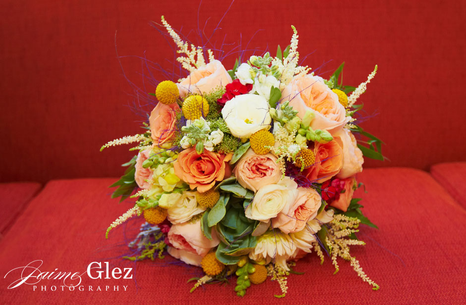 Colorful summer bride's bouquet.