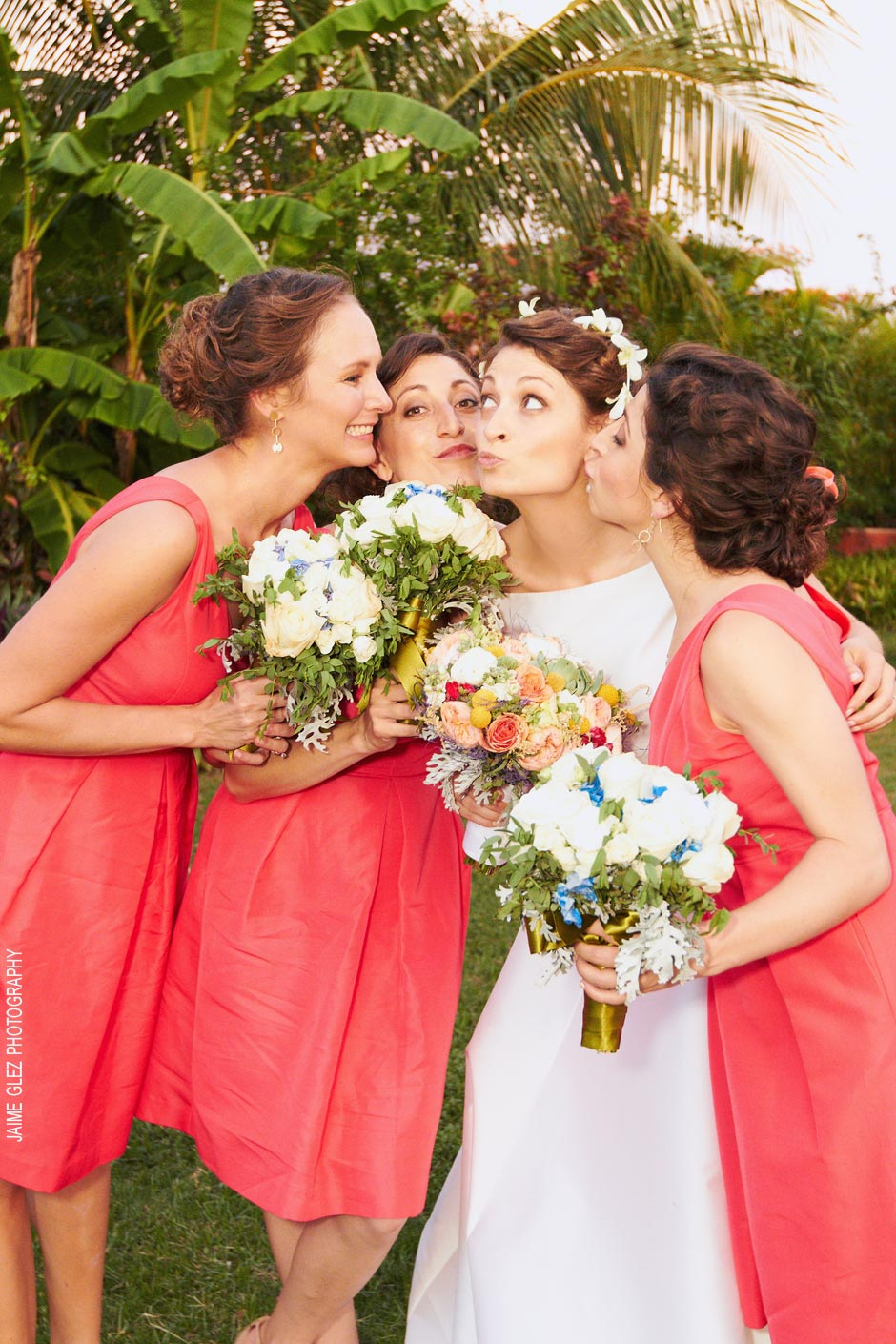 Enjoying a photo session with bridesmaids.