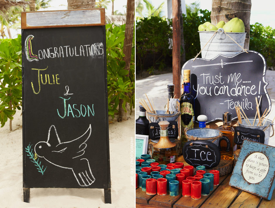 Details that matter! A fantastic idea of offering shots of tequila on your wedding day in Mexico!