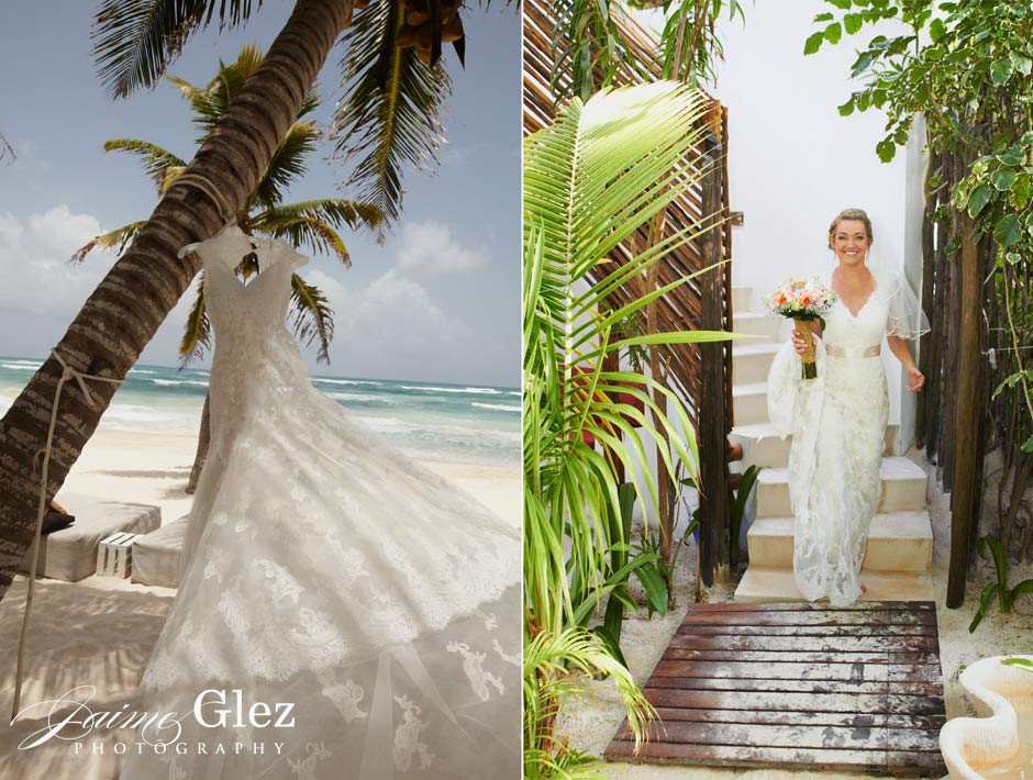 Tulum is one of the best destination weddingplaces for such alovely bride with delightfulwedding dress.