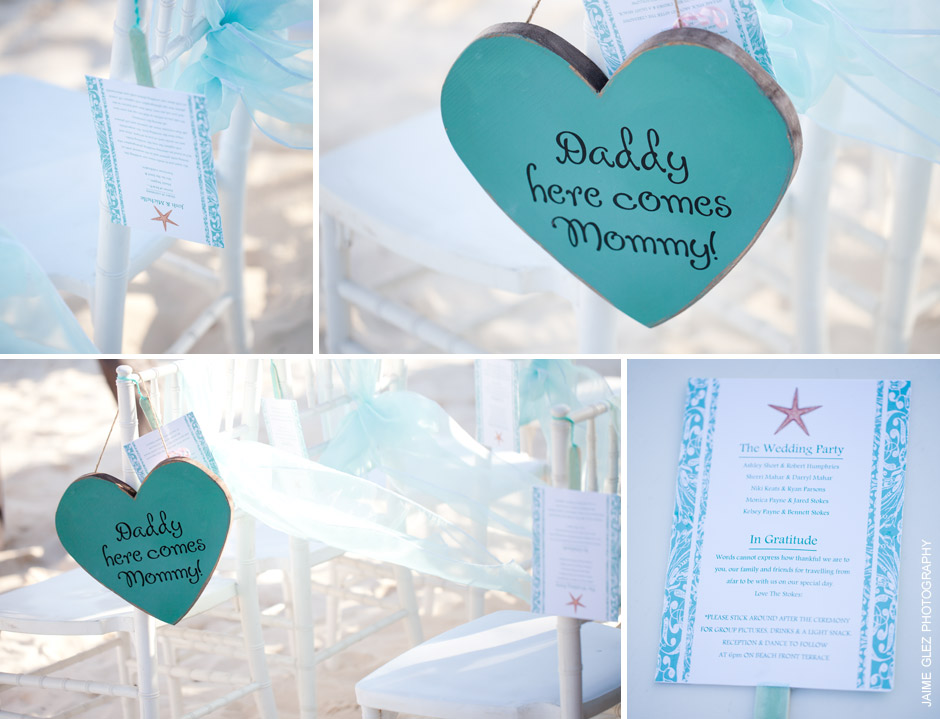 Beach wedding details in color scheme- turquoise.