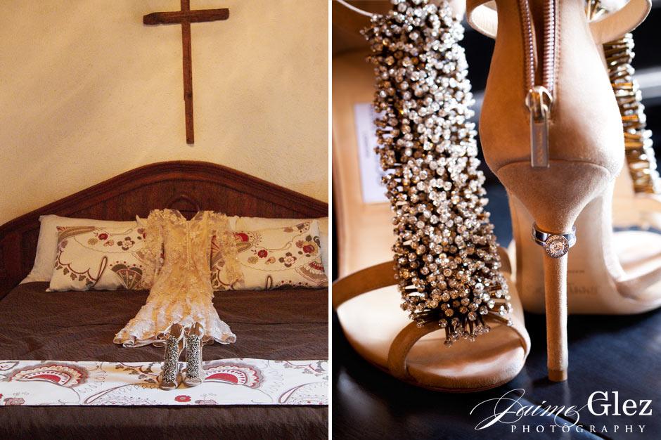 Wedding ring on elegant bride shoes by     Jimmy Choo    .