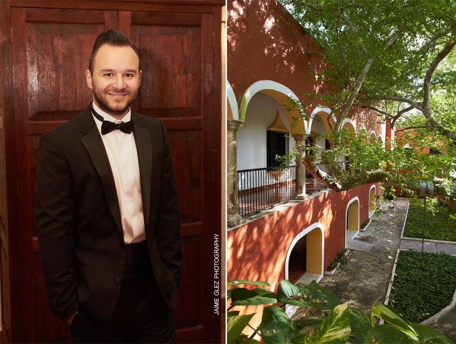 Groom wearing an elegant tuxedoby Hugo Boss.