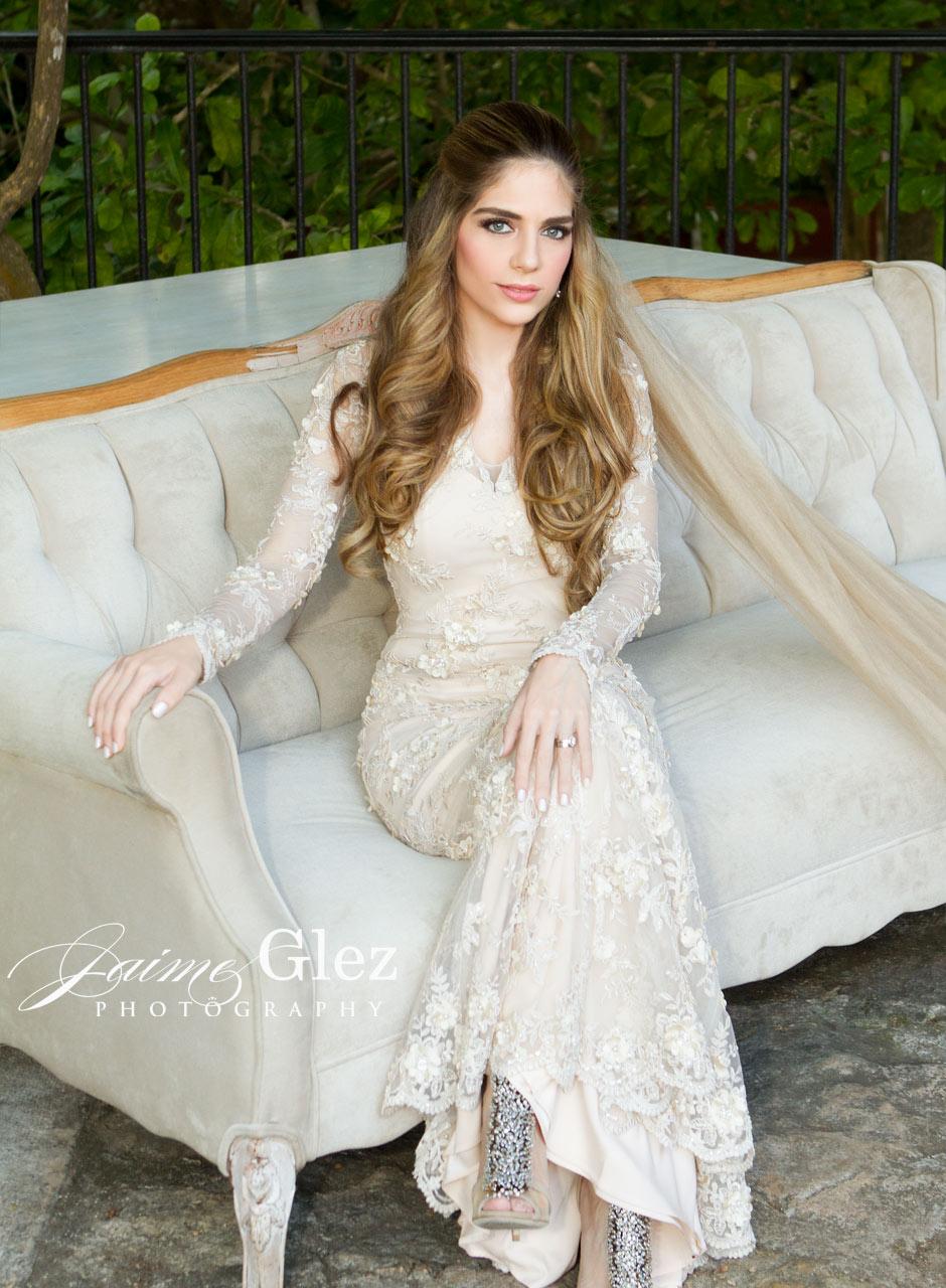Brilliant bride wearing a wedding dress design by    Alejandro Carlin    . Simply gorgeous!!