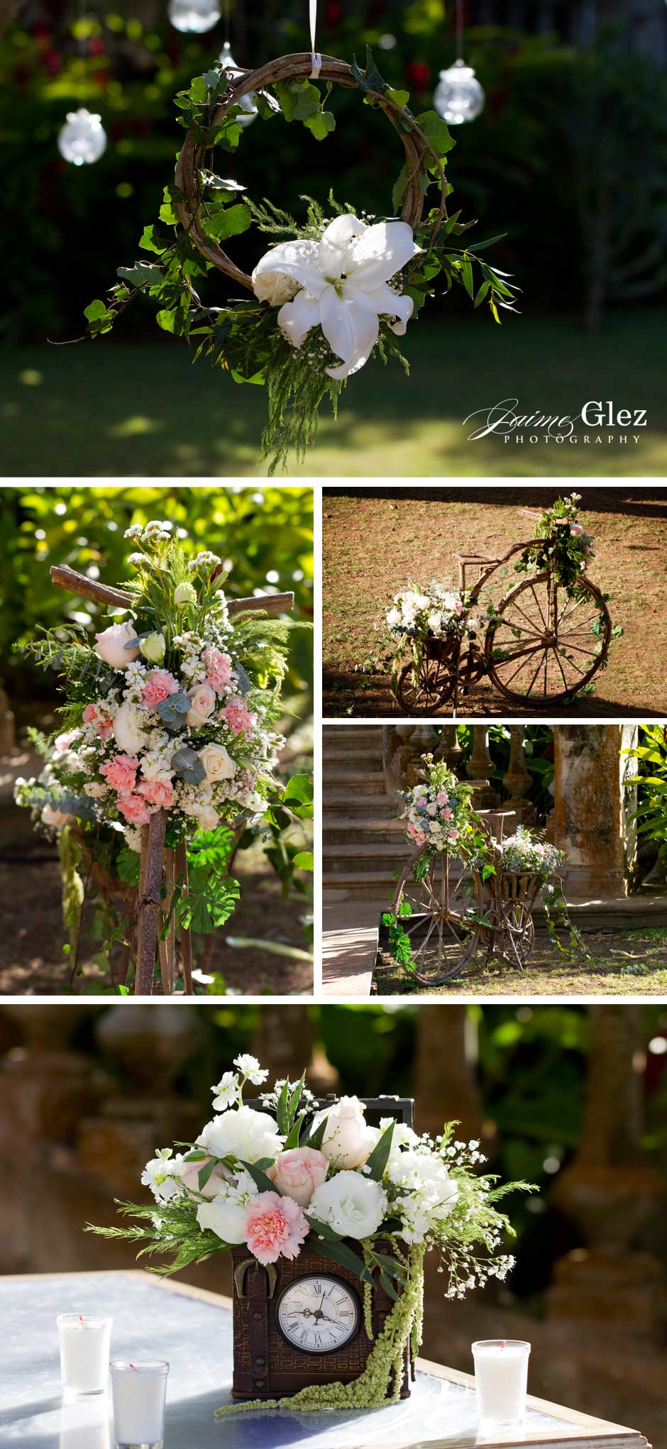Fresh and sweet wedding floral arrangements with a vintage touch!