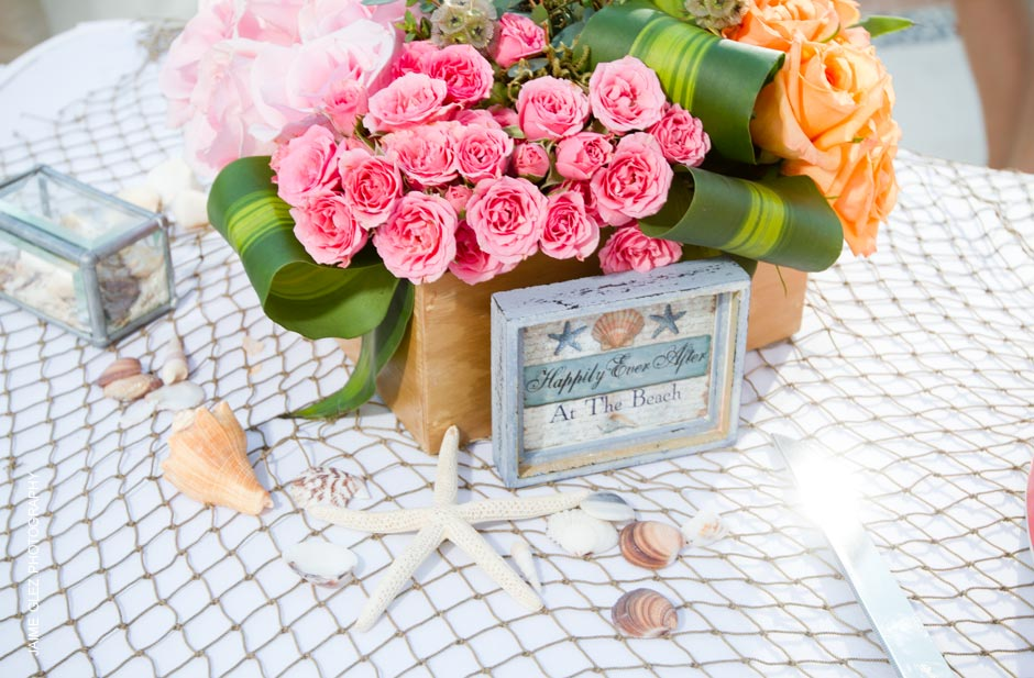 Happily ever after beach wedding decor.