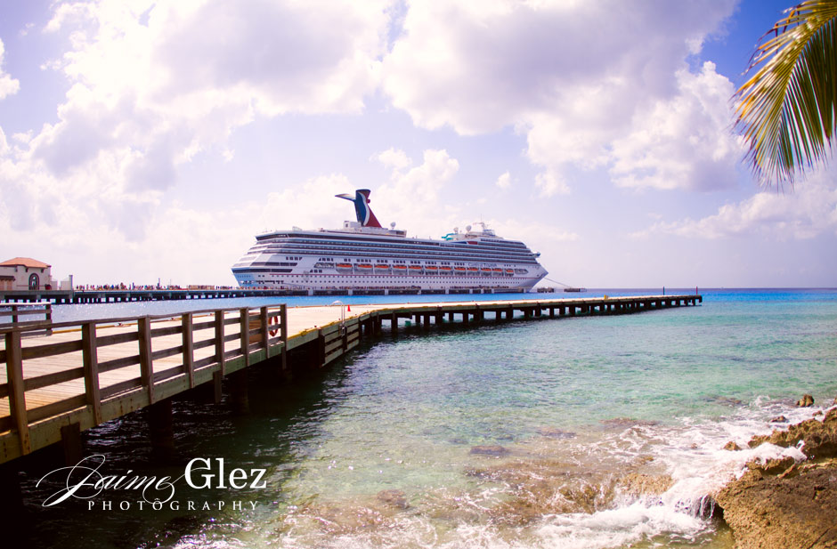The cruise where the newlyweds, family and friends arrived to this lovely destination.