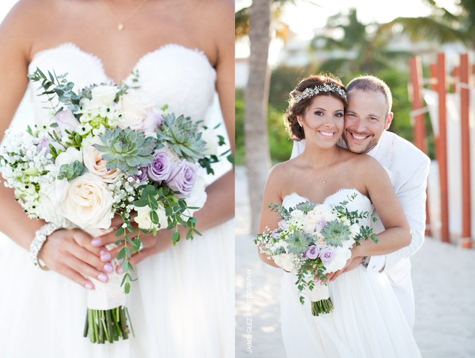 Gorgeous bridal bouquet made of white, purple roses & succulent.