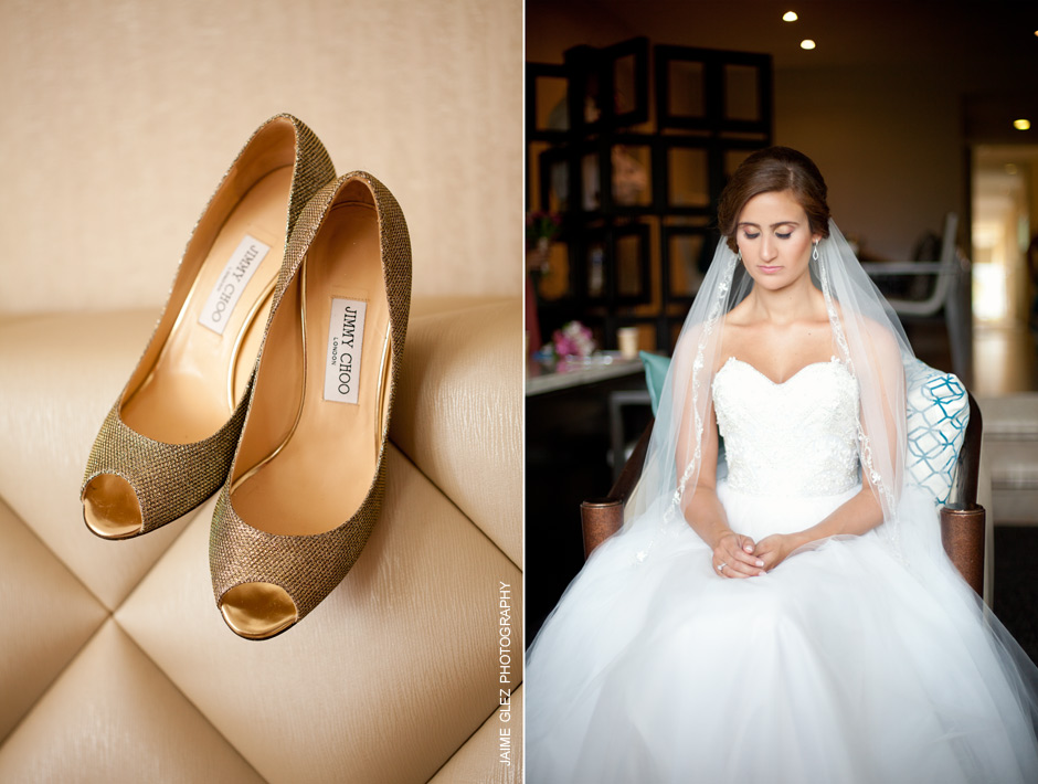 Elegant golden  Jimmy Choo  bridal shoes for a special day.