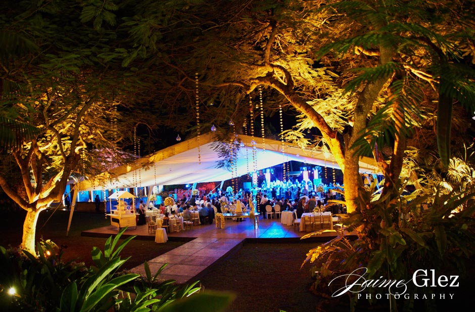 Stunning outdoor hacienda wedding reception.