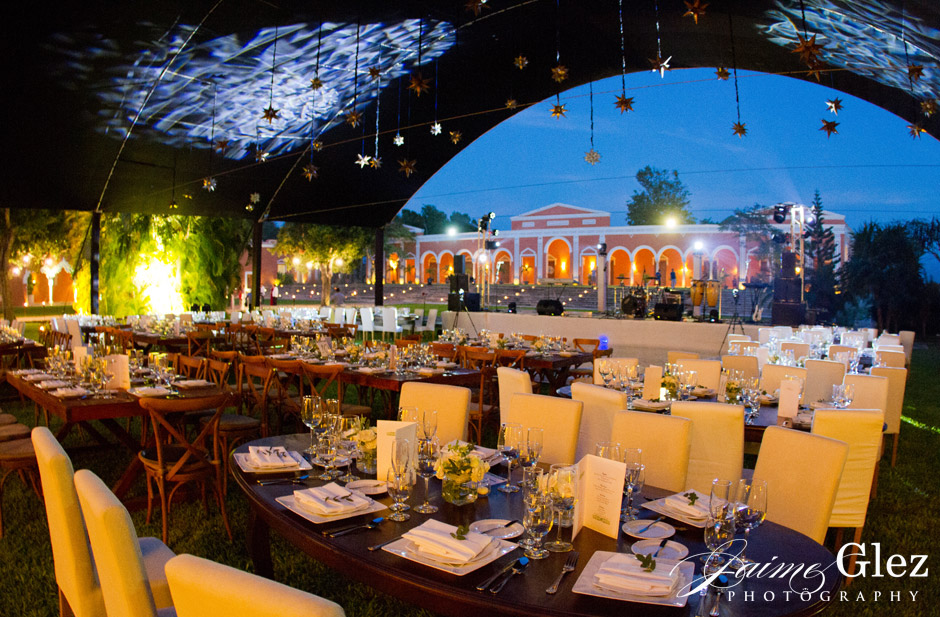 Great view of the Main House of Hacienda Chichi suarez from outdoor wedding reception.
