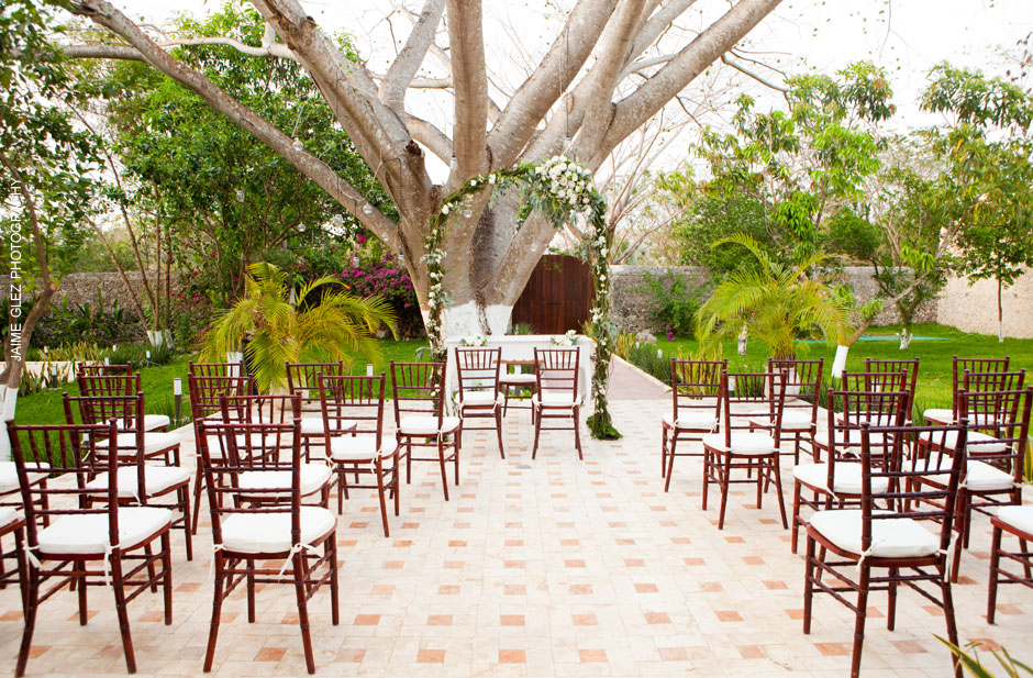 Outdoor civil wedding ceremony set up.