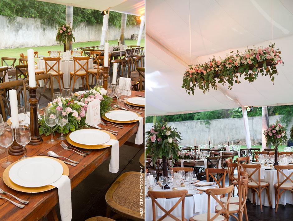 Hermoso y elegante diseño de la recepción en los jardines de la Hacienda Sac Chich