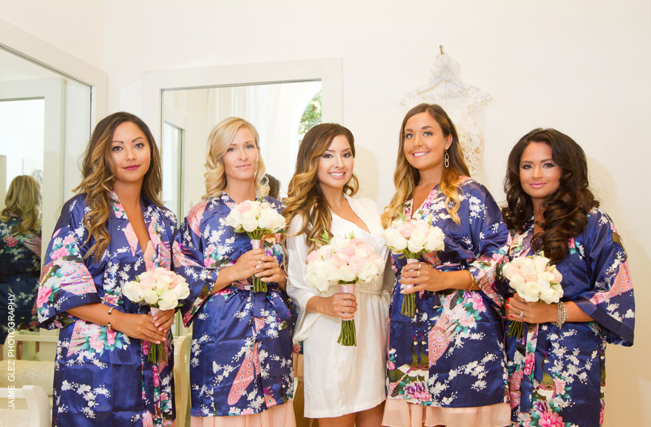 Bride and bridesmaids getting ready.