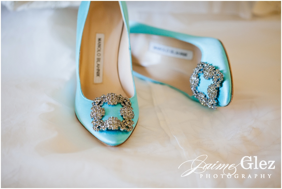 Spectacular blue turquoise satin bridal shoes by designer Manolo Blahnik.