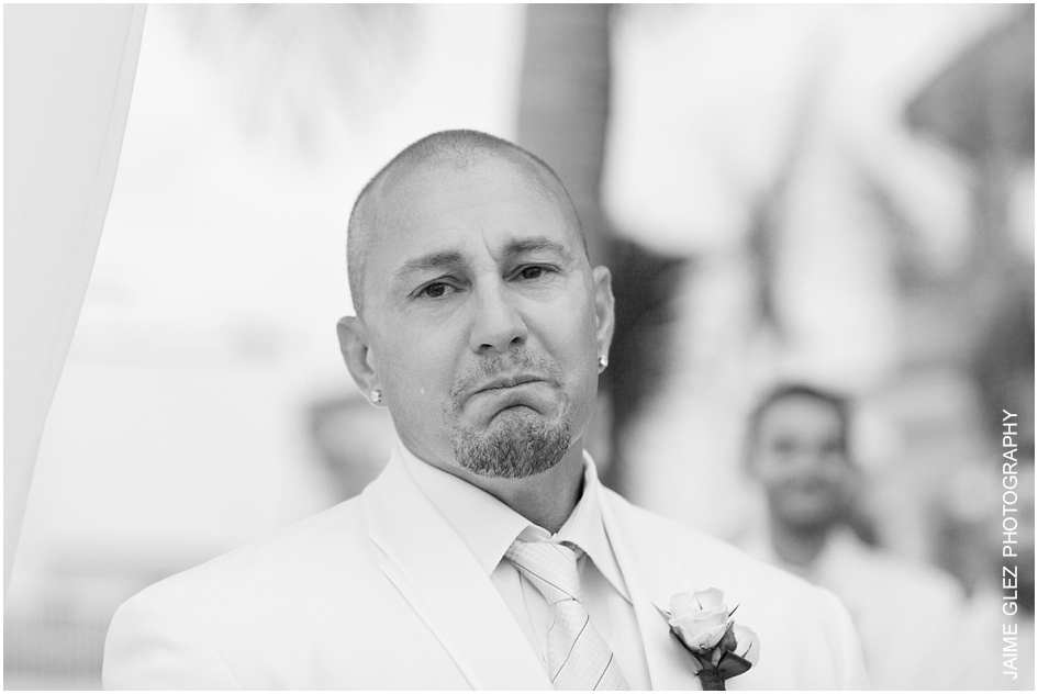 The exact moment when the groom gets emotional to see his lovely bride.
