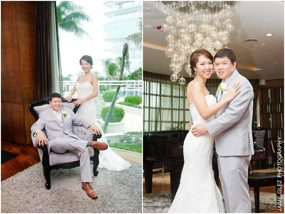 Bride and groom indoor wedding photos at Sandos Cancun Luxury.