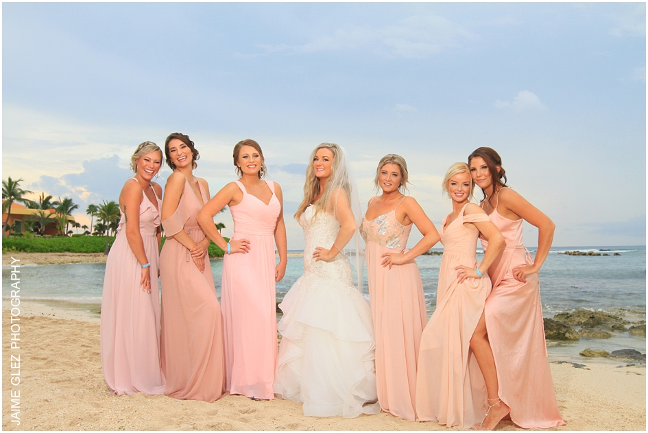Gorgeous bride and her bridesmaids in photo session.