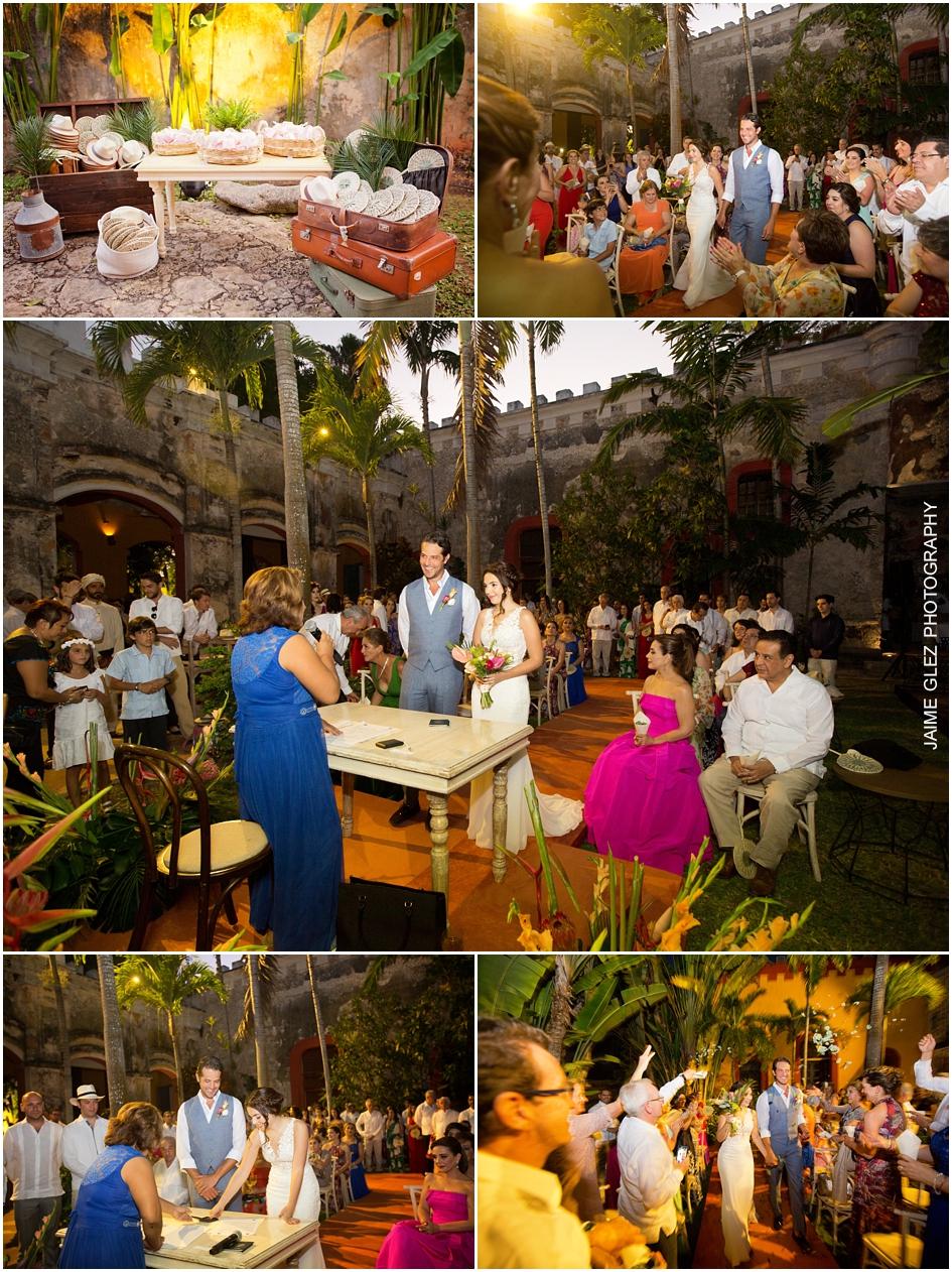 Novios en su ceremonia civil que se llevo a cabo en casa principal de Hacienda Sac Chich.
