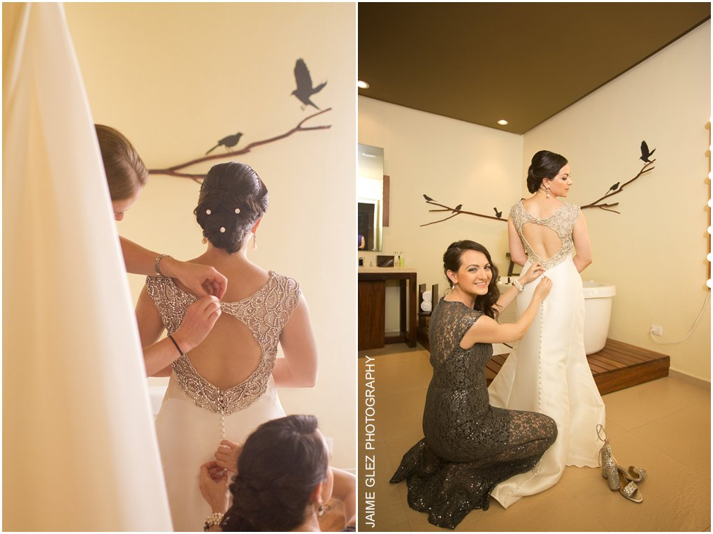 Stunning bride in her getting ready! Her wedding dress is absolutely beautiful!